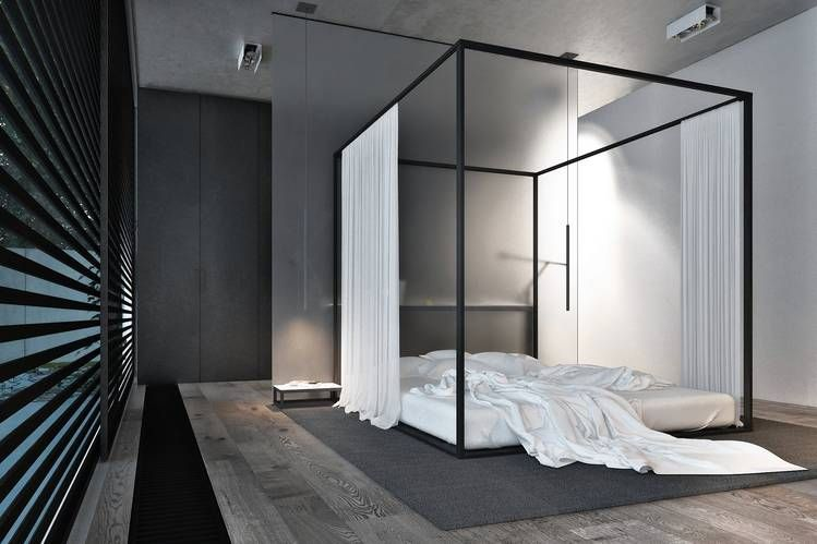 Minimalist Bedroom with Canopy Bed
