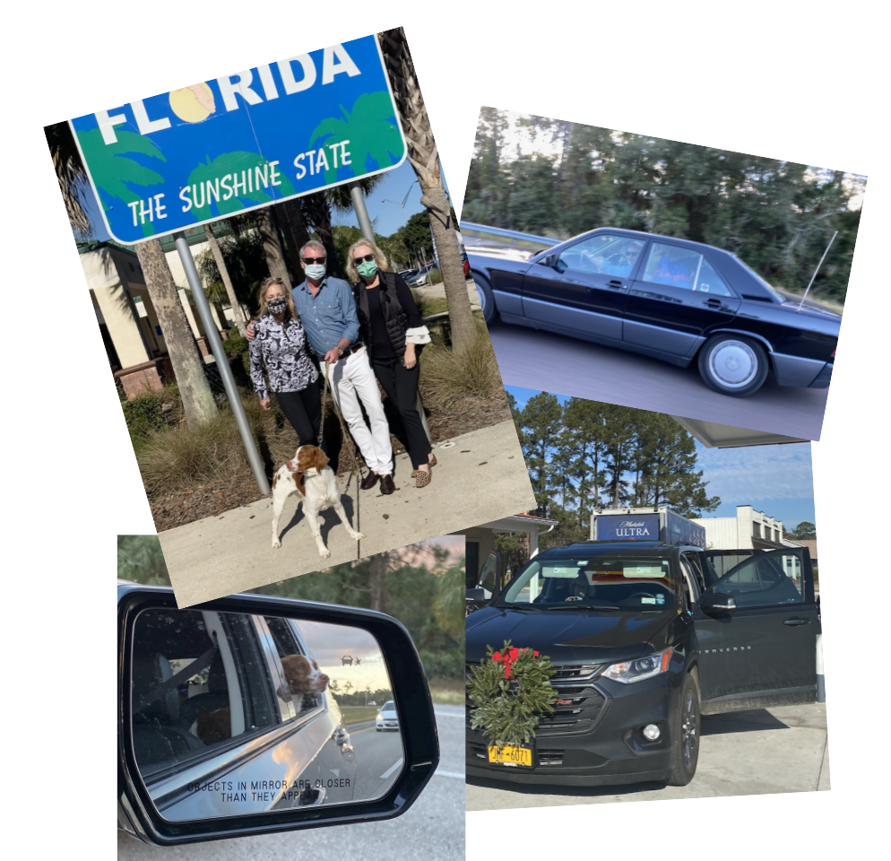 New York Social Diary article by Karen Klopp & Hilary Dick, what to wear on a  Covid Safe Road Trip from New York City to Florida. Jack Lynch, Amy Hoadley