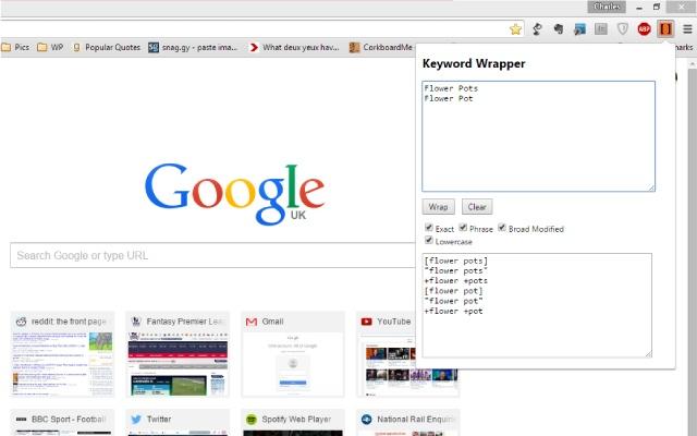 Keyword Wrapper Chrome Extension