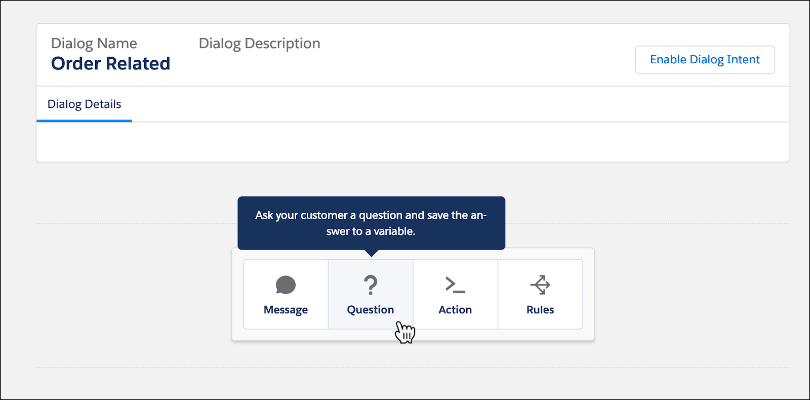 The Order Related Dialog setup screen with the mouse over the Questions option.