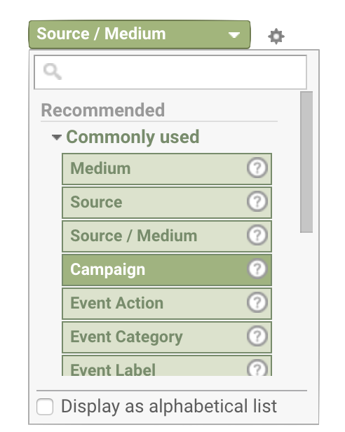Criteria selection menu