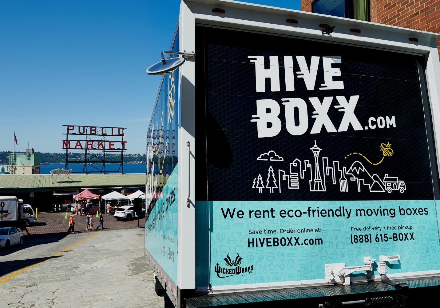 A HiveBoxx.com mobile billboard truck advertisement