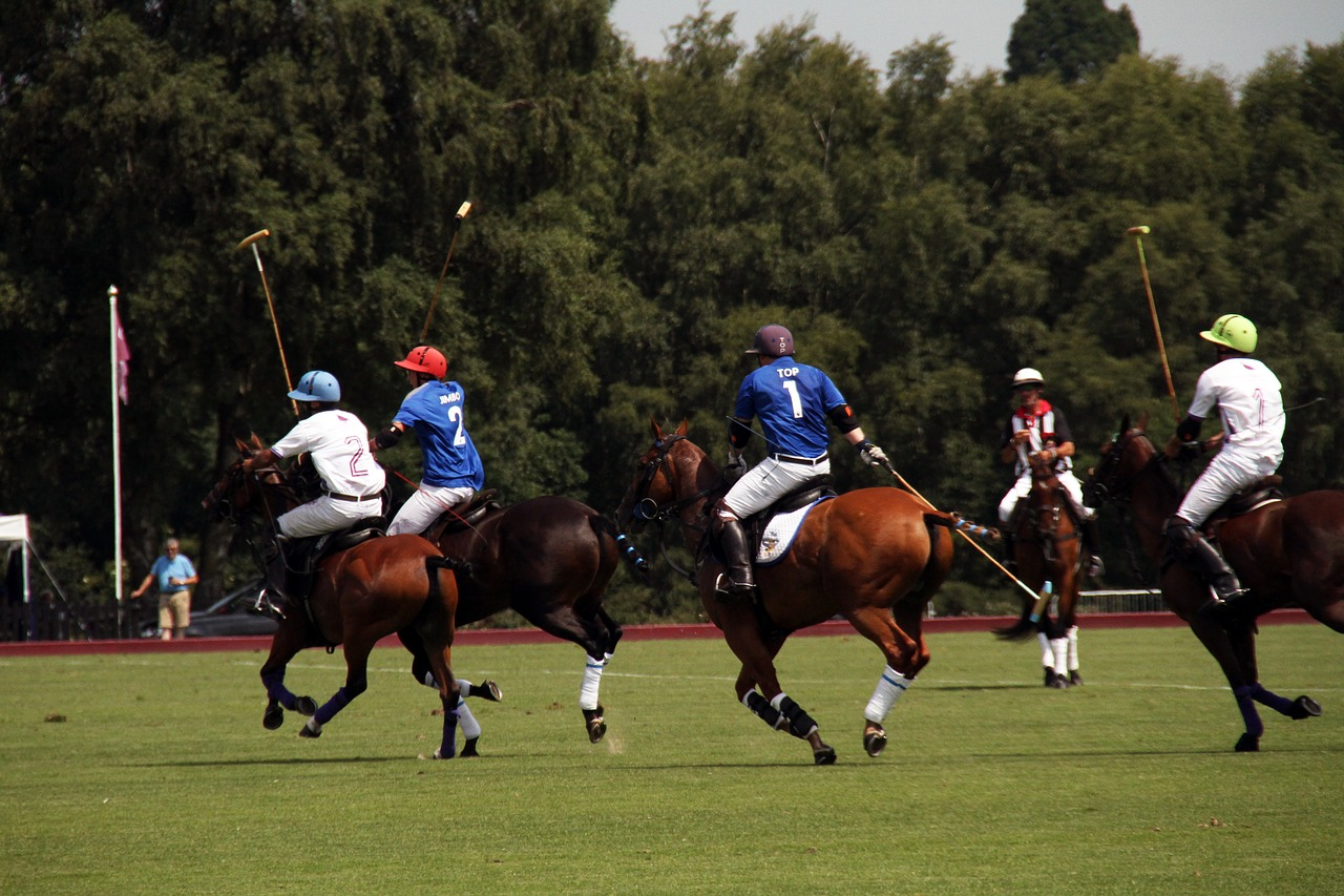 picture of a team playing polo on horseback,