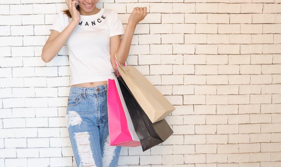 adult, bags, brick wall