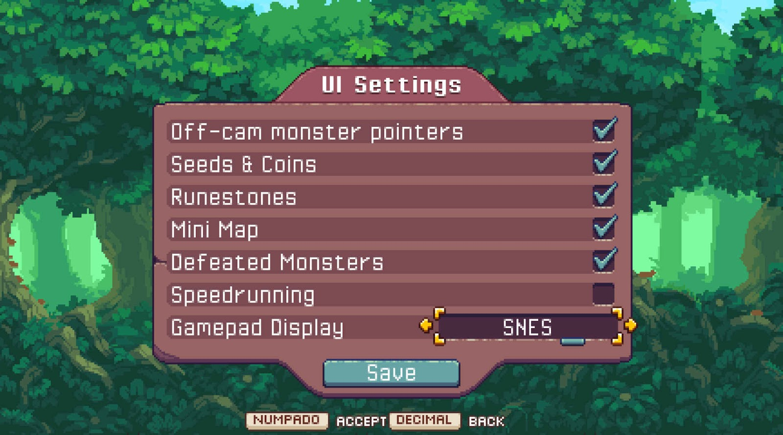 Off-cam monster pointers, seeds and coins, runestone, mini map, defeated monsters, speedrunning and gamepad display.