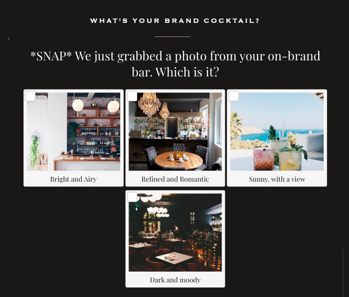 What's your brand cocktail quiz question with answer images on what's your on-brand bar