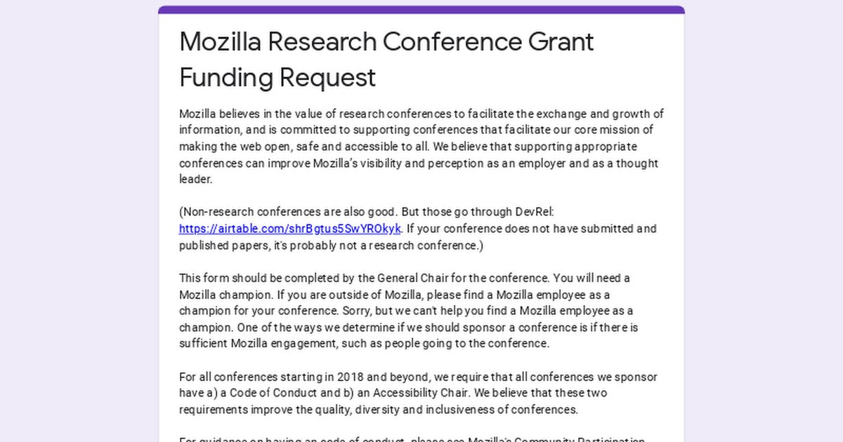 Mozilla Research Conference Grant Funding Request