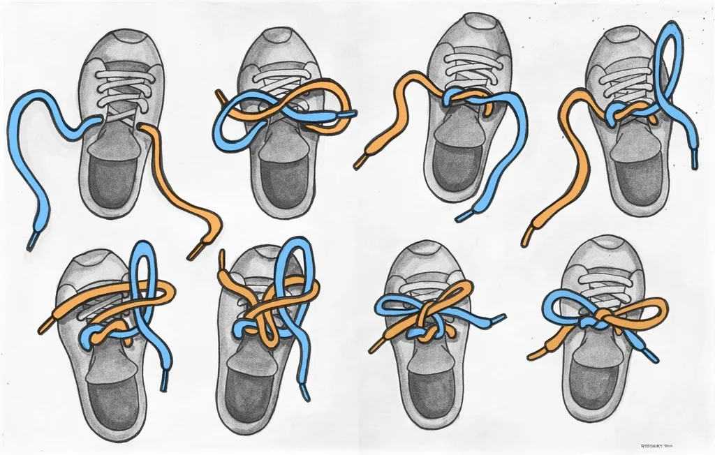 Demonstrating how to tie your shoelaces with pictures for each stage of the process.