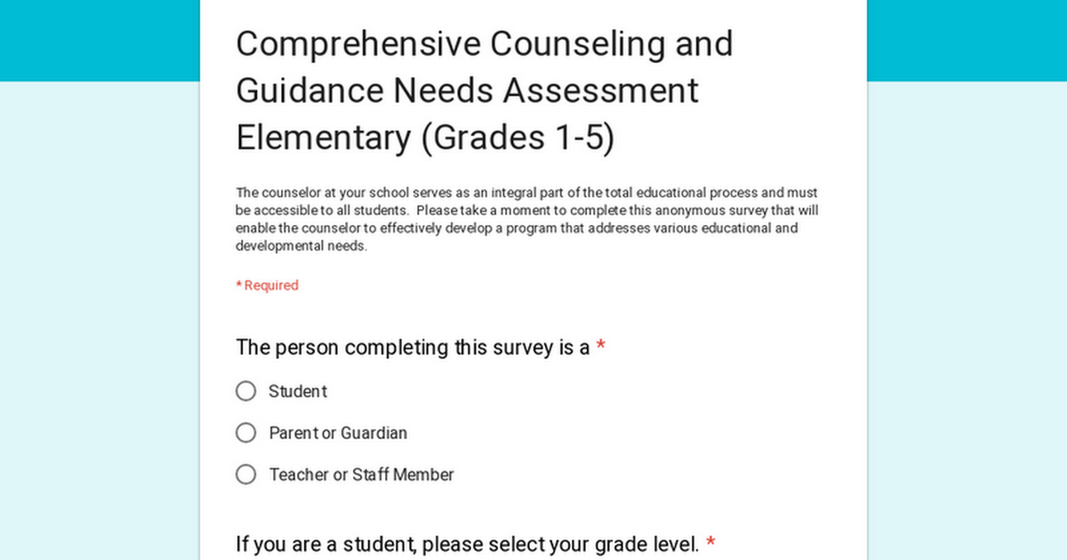 guidance and counselling needs