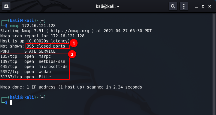 Nmap commands - single target scan. Source: nudesystems.com