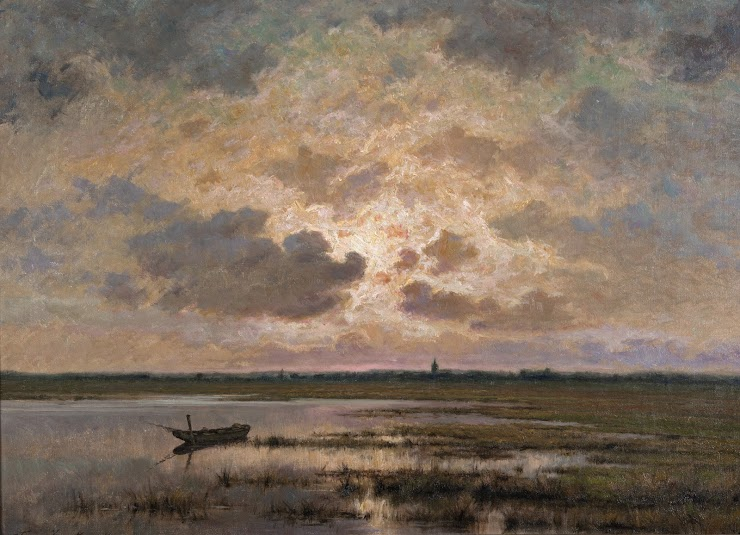"Frans van Kuyck (1852 Antwerp–Antwerp 1915), ""Marsh at Twilight,"" n.d., oil on canvas, 52.7 x 70.8 cm, Hearn Family Trust"