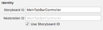 Set the Storyboard ID to MainTabBarController