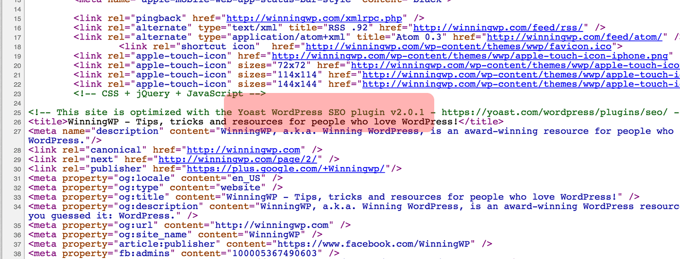 HTML Comments Search Example - Screenshot