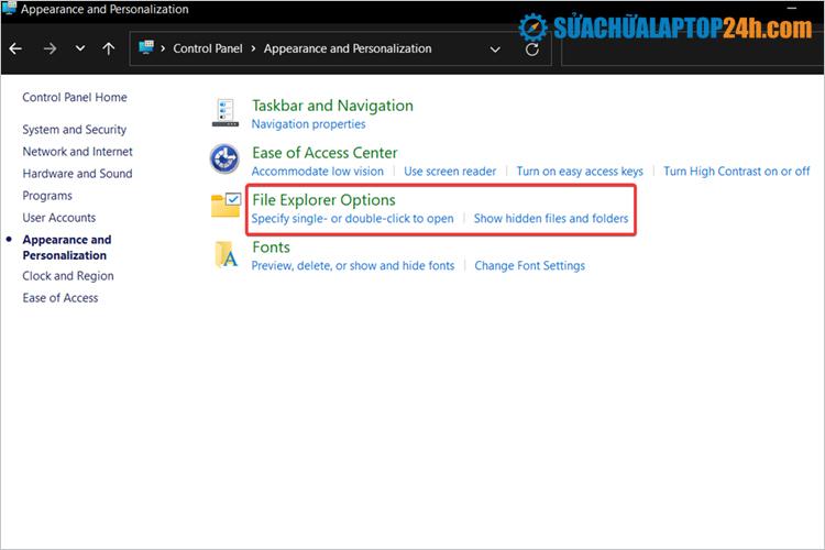 Nhấp vào File Explorer Options