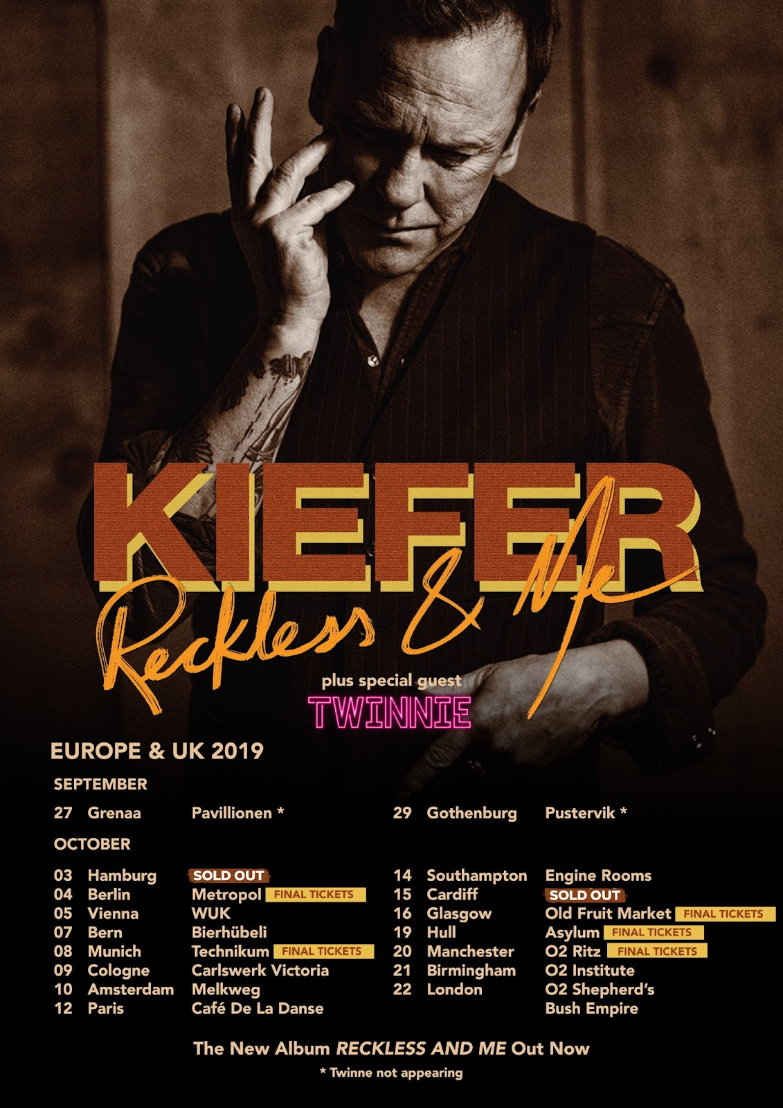 Kiefer Reckless And Me - Ottobre in Europa