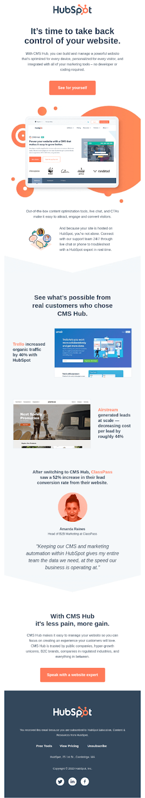 Email Blasts - An Example From Hubspot