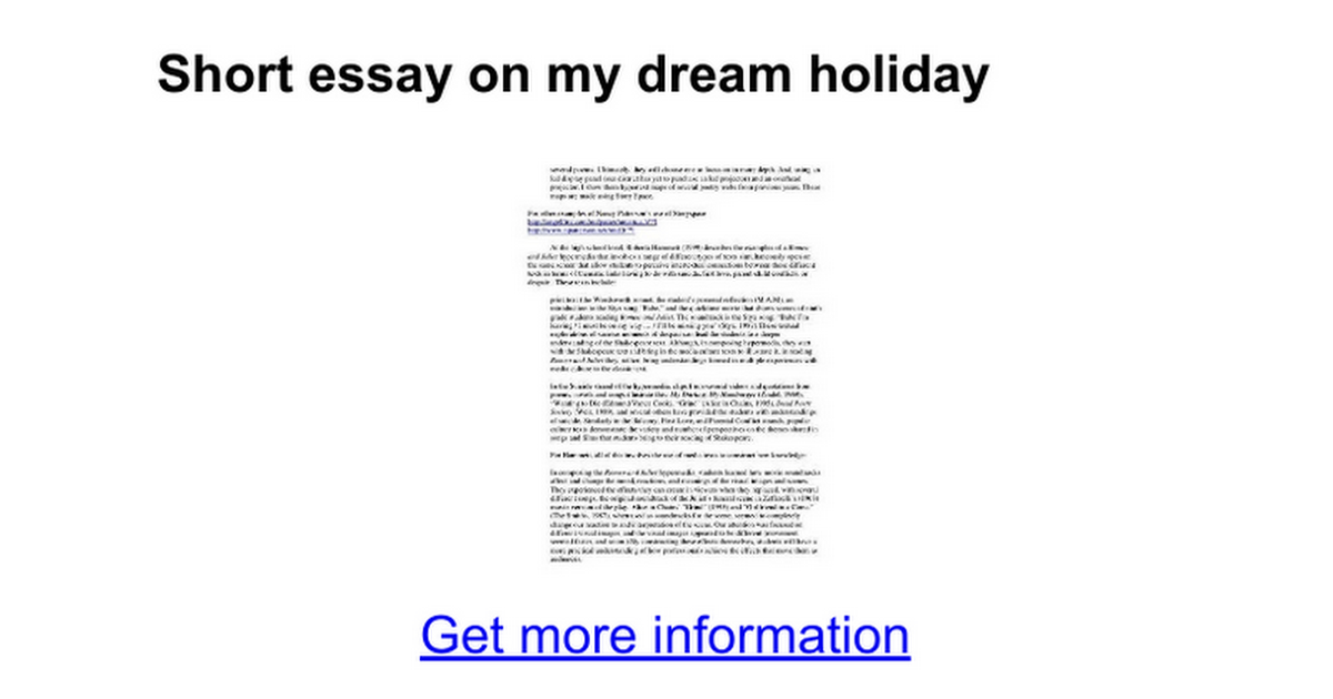 My dream vacation short essay