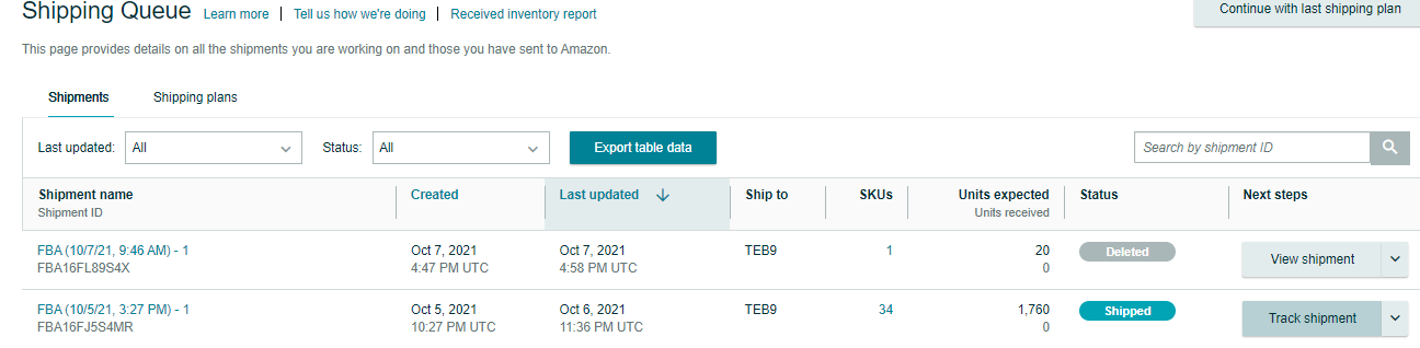 Amazon Shipping Queue Track Shipment