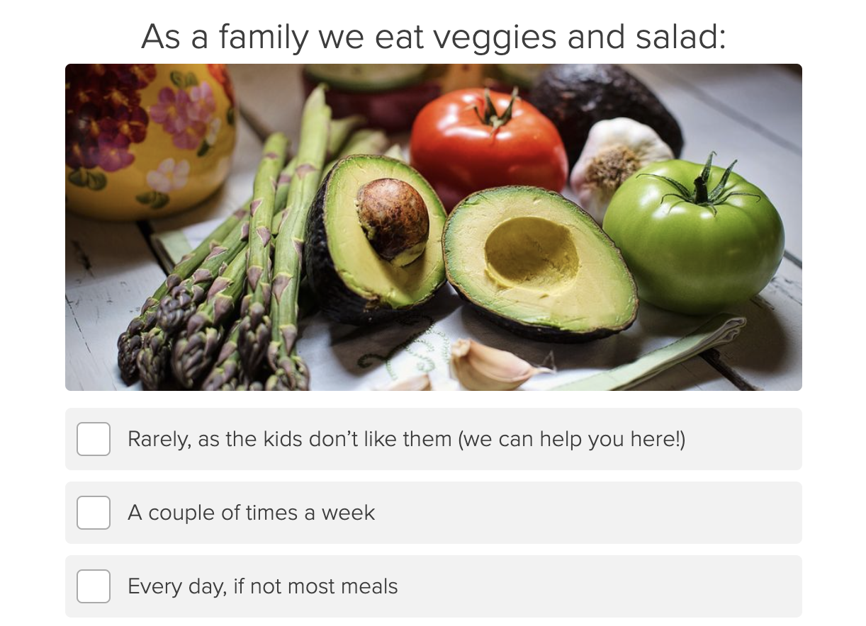 how often does your family eat veggies and salad quiz question