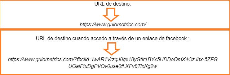 URL transformada con parámetro fbclid.