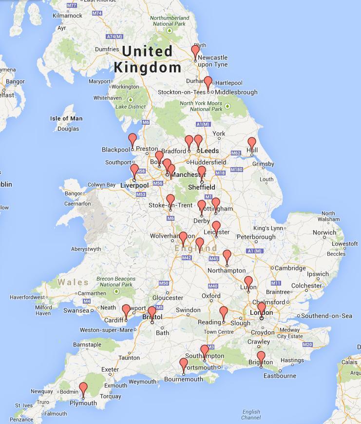 mapa rozmieszczenia kasyn naziemnych w Wielkiej Brytanii