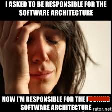 "A meme that has a photo of a crying woman that says, ""I asked to be responsible for the software architecture. Now I'm responsible for the whole **** software architecture."""