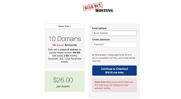 Giao diện website mua hosting