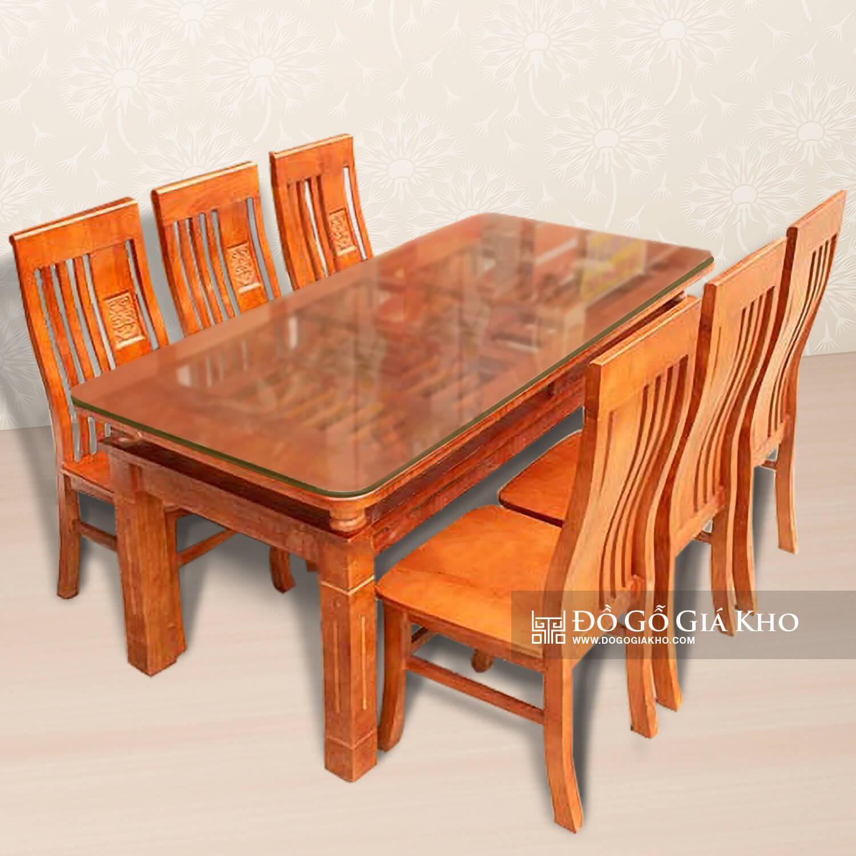 Bàn ăn gỗ Sồi 2 tầng 6 ghế màu cánh gián - BA002-6
