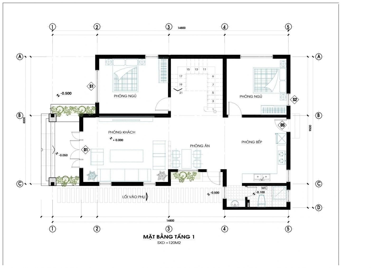 Mặt bằng tầng 1 mẫu nhà 2 tầng mái thái