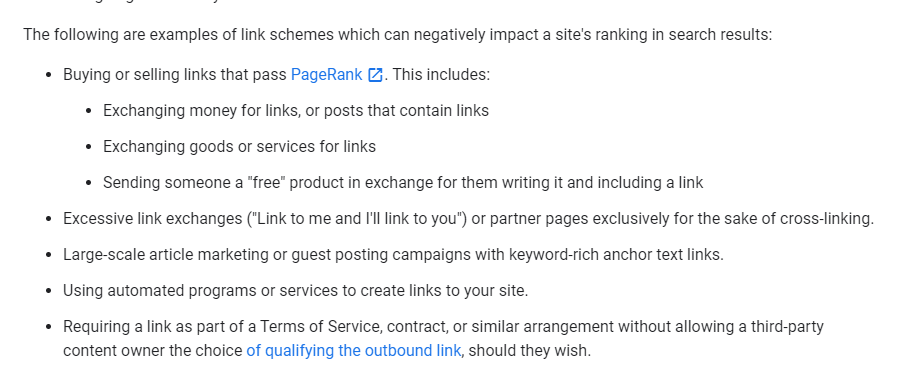 google terms on buying backlinks