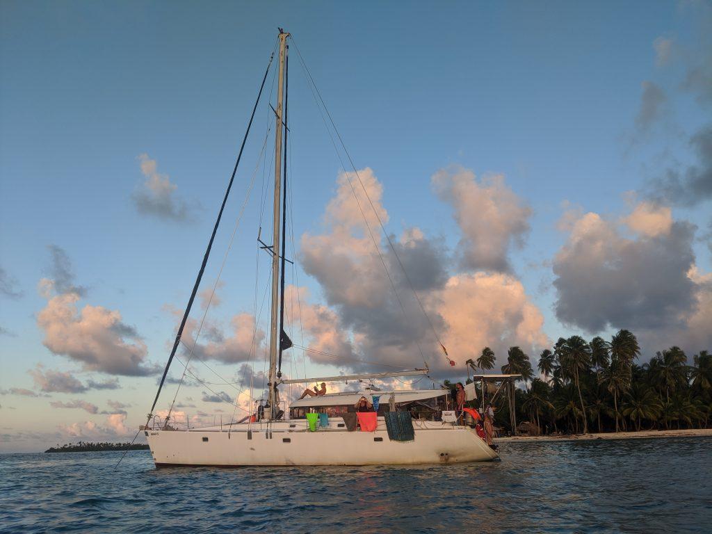 Sail boat at sunset during keto boot camp