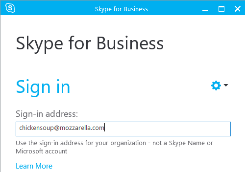Click on the Options cog icon on the sign-in screen. The Skype for Business options window opens.