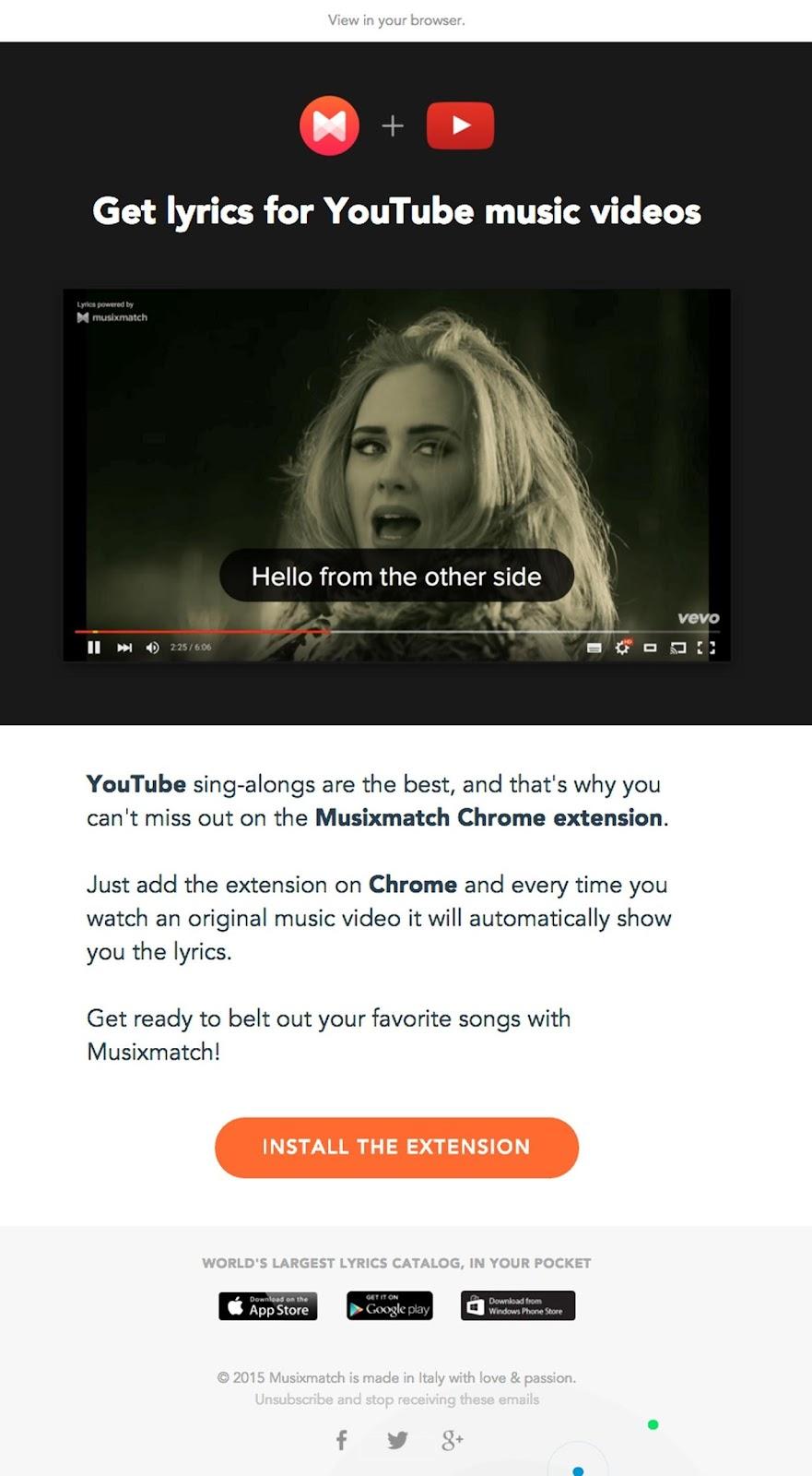 Musixmatch's Chrome extension