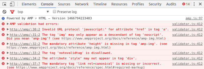 Screen grab of AMP Validator errors in chrome developer console