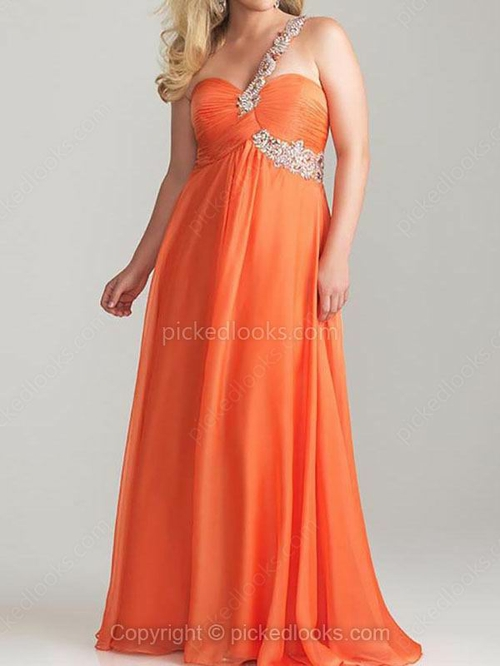 Chiffon One Shoulder Floor-length A-line Rhinestone Prom Dresses #PLS02023294