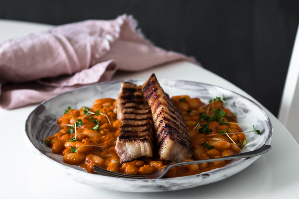 HOW TO MAKE SWEET CURED BELLY PORK STEAKS & BAKED BEANS