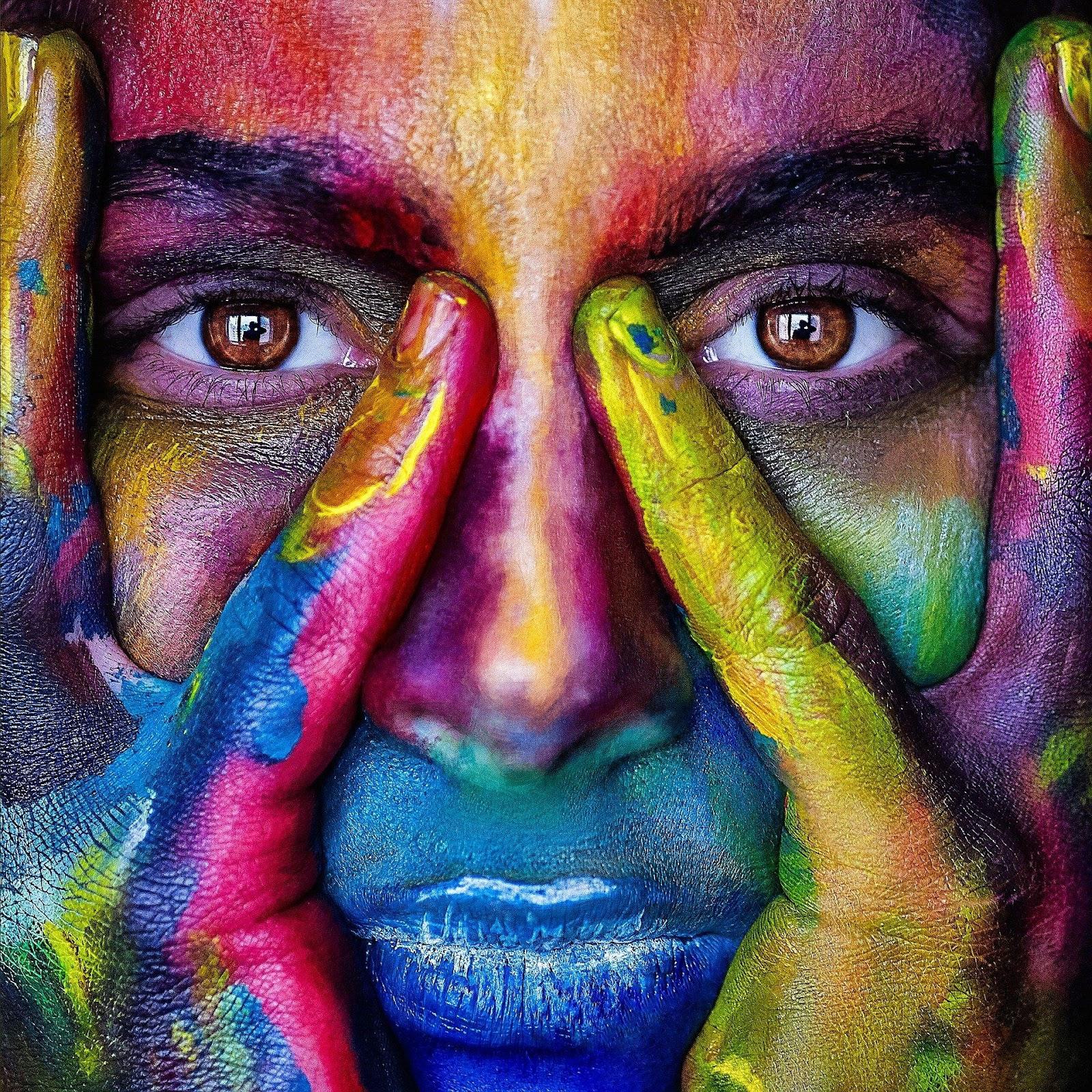 multi colored face
