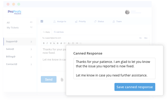 Canned Responses feature in help desk software