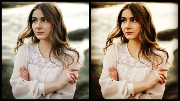 antes e depois da foto de uma mulher morena sendo que uma das fotos está sendo utilizado o filtro Mocha do AirBrush
