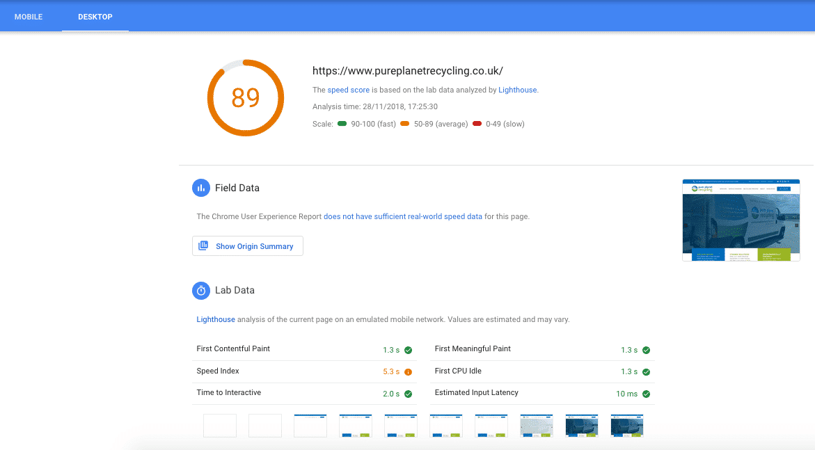 PageSpeed desktop report for pureplanetrecycling