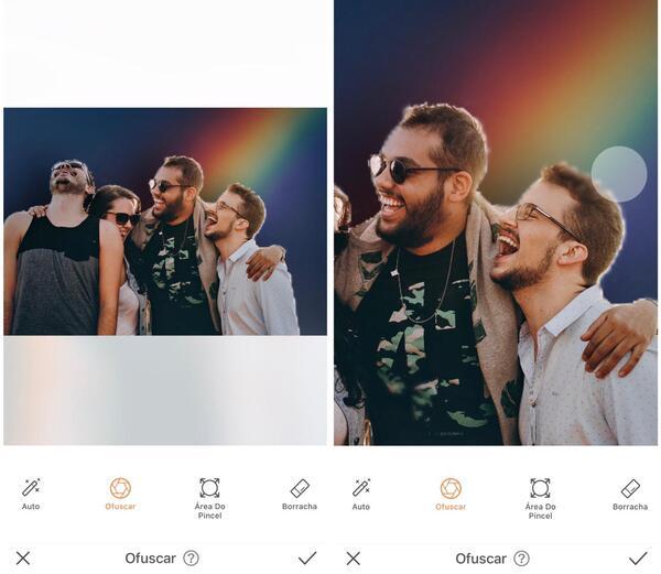 Foto de quatro amigos sendo editados pelo AirBrush, com a ferramenta Ofuscar
