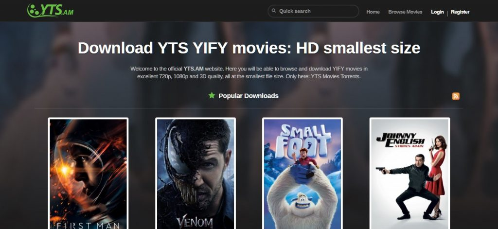 Página para descargar torrents YTS