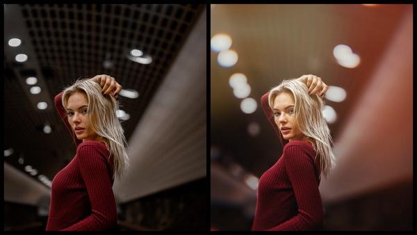 Montagem de uma mulher branca posando em um lugar que parece um túnel mostrando o antes e depois da edição