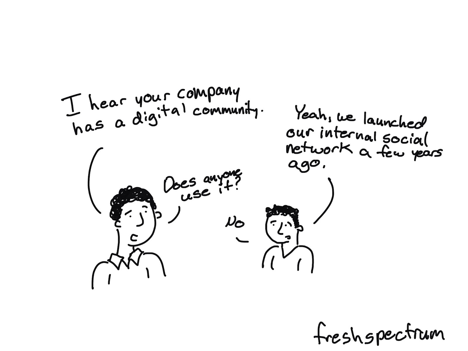 """Cartoon illustration of two people where one is saying """"I hear your company has a digital community"""" and the other is saying :Yeah, we launched out internal social network a few years ago."""" The first person asks """"Does anyone use it?"""" and the second responds """"no."""""""