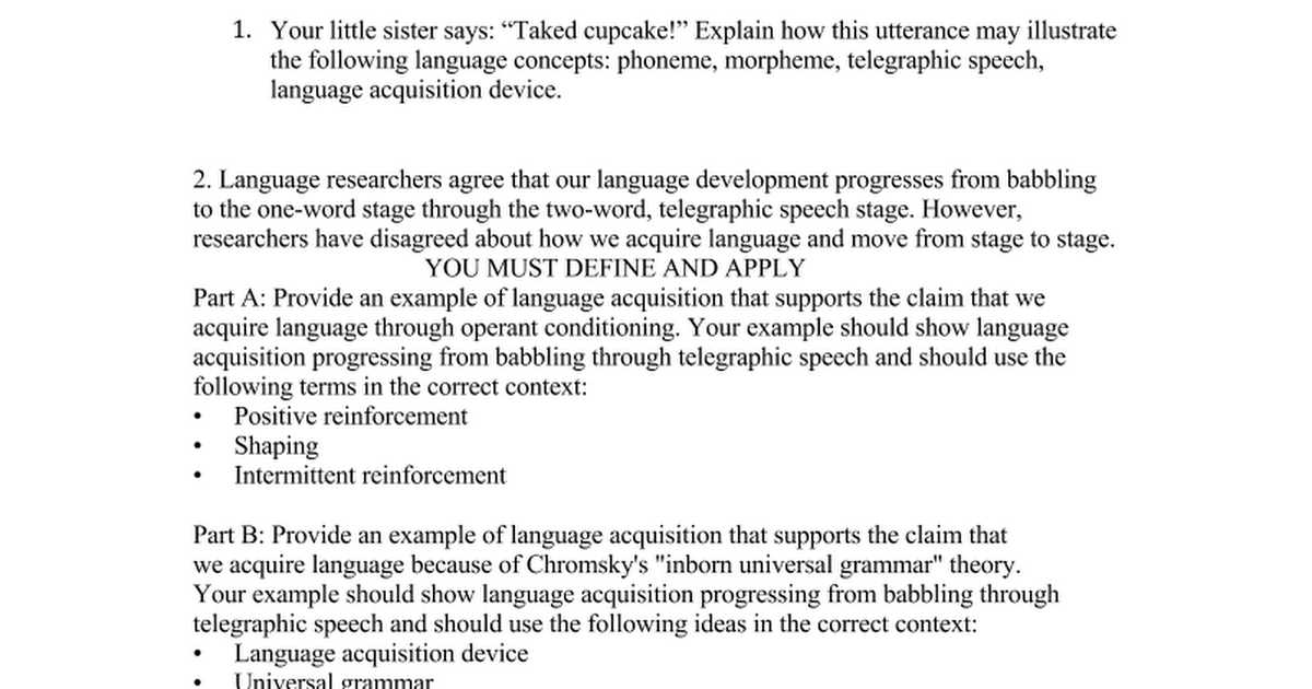 Language essay and FRQdocx Google Docs – Telegraphic Speech Example