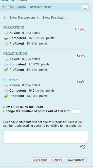Rubric Categories Graded