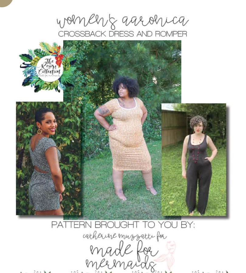Advertisement for a sewing pattern.  Shown are two black women and one white woman wearing different versions available in the pattern.
