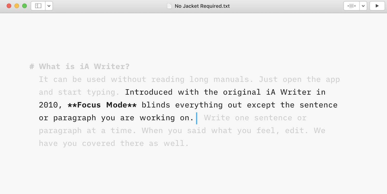 Screenshot of iA writer app interface