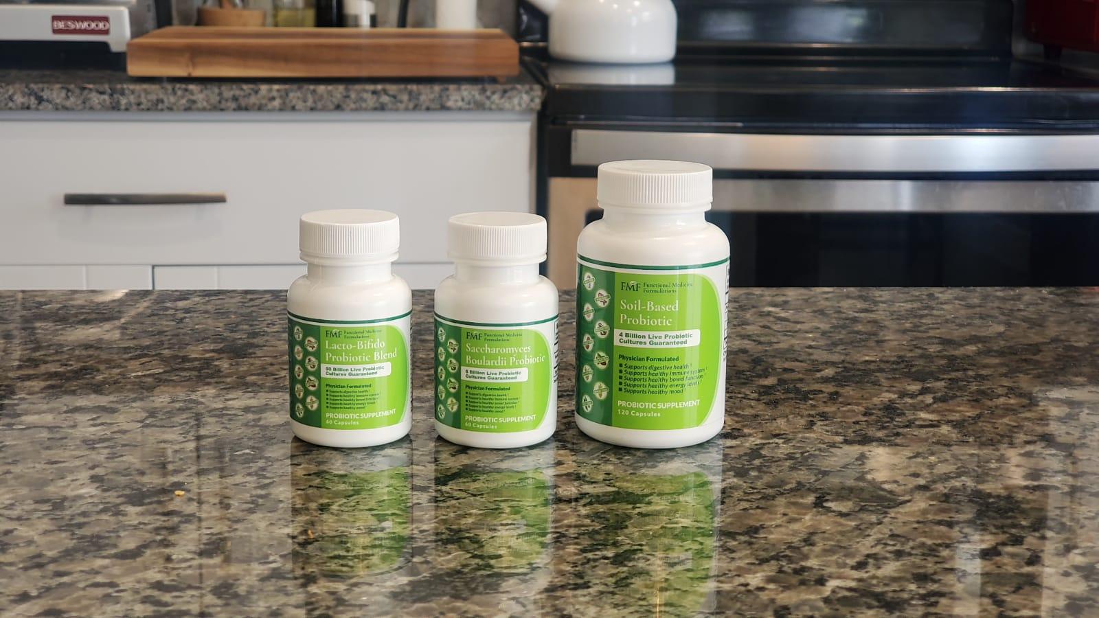 What are probiotics: Three bottles of probiotic supplements