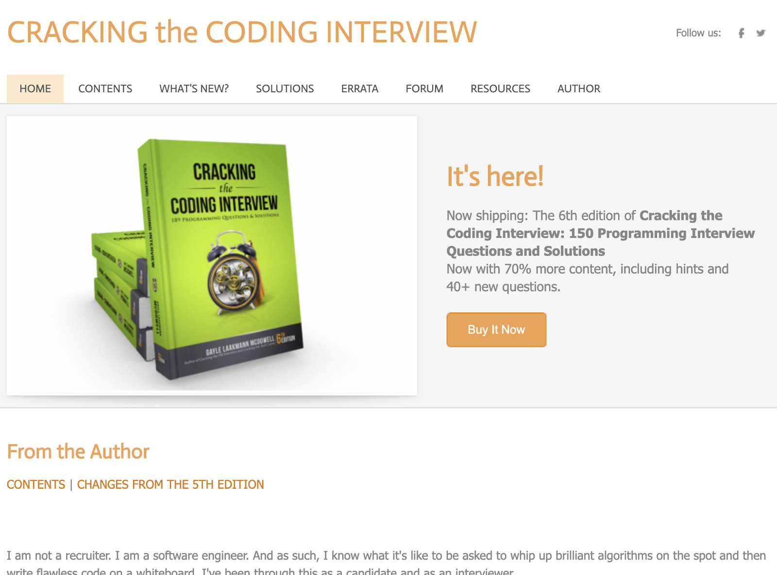 Cracking the Coding Interview home page